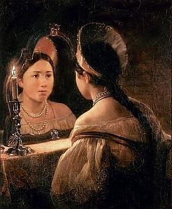identity - medieval - woman mirror